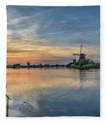 Red Skies Over Kinderdijk Fleece Blanket
