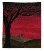 Red Sky - Dark Hills Fleece Blanket