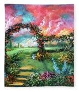Red Sky Garden Fleece Blanket