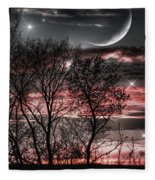 Red Sky Moon Fleece Blanket