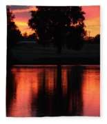 Red Sky Reflection With Tree Fleece Blanket