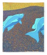 Red Snapper Inlay On Alabama Welcome Center Floor - Color Invert Fleece Blanket