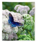 Red Spotted Purple Butterfly On Sedum Fleece Blanket