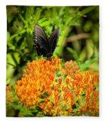 Red Spotted Purple Butterfly Fleece Blanket