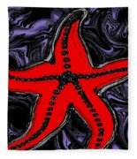 Red Starfish In Stormy Seas Fleece Blanket