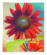 Red Sunflowers At Sundown Fleece Blanket