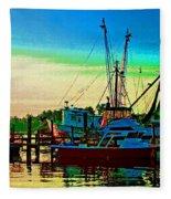 Red Sunrise And The Shrimp Boat Fleece Blanket