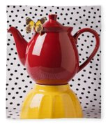 Red Teapot With Butterfly Fleece Blanket