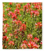 Red Texas Wildflowers Fleece Blanket