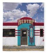Red Top Diner On Route 66 Fleece Blanket