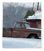 Red Truck In The Snow Fleece Blanket