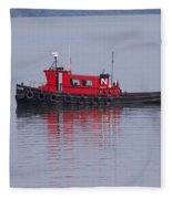 Red Tug On Lake Superior Fleece Blanket