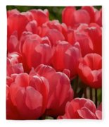 Red Tulip Buds Crest The Earth Fleece Blanket