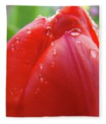 Red Tulip Flower Macro Artwork 16 Floral Flowers Art Prints Spring Dew Drops Nature Art Fleece Blanket