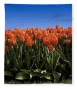 Red Tulip Garden Fleece Blanket