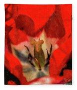 Red Tulip Texture Fleece Blanket