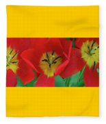 Red Tulip Trio Fleece Blanket