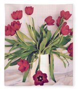 Red Tulips In Full Bloom Fleece Blanket