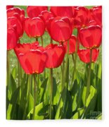 Red Tulips Square Fleece Blanket