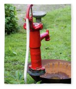Red Water Pump Fleece Blanket