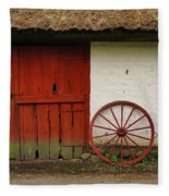 Red Wheel And Barn In Sweden Fleece Blanket