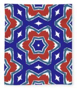 Red White And Blue Star Flowers 1- Pattern Art By Linda Woods Fleece Blanket