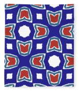Red White And Blue Tulips Pattern- Art By Linda Woods Fleece Blanket