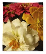 Red White And Yellow Zinnias Fleece Blanket