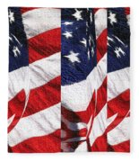 Red White Blue - American Stars And Stripes Fleece Blanket