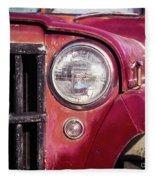 Red Willys Jeep Truck Fleece Blanket