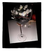 Red Wine With White Mums Fleece Blanket