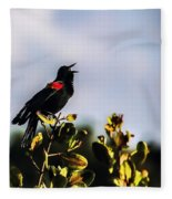 Red Wing Black Bird  Fleece Blanket