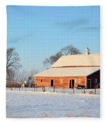 Red Winter Barn Fleece Blanket