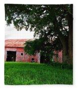 Red Wood Barn Fleece Blanket