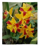 Red Yellow Orchids Fleece Blanket