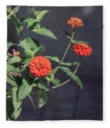 Red Zinnia Flowers Fleece Blanket