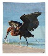 Reddish Egret Nabs A Fish Fleece Blanket