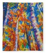 Redemption - Fall Birch And Aspen Fleece Blanket
