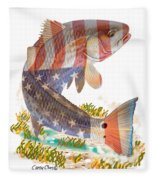 Redfish, White And Blue Fleece Blanket