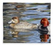 Redhead Duck Pair Fleece Blanket