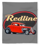 Redline Hot Rod Garage Fleece Blanket