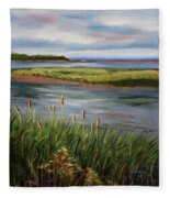 Reeds By The Water Fleece Blanket