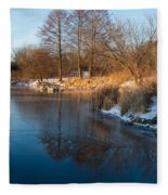 Reflecting In Threes - Three Trees By The Lake Fleece Blanket