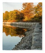 Reflecting On Autumn - Gray Rocks Highlighting The Foliage Brilliance Fleece Blanket