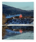 Reflecting On Farms By Connecticut Fleece Blanket