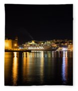 Reflecting On Malta - Cruising Out Of Valletta Grand Harbour Fleece Blanket