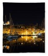 Reflecting On Malta - Senglea Golden Night Magic Fleece Blanket