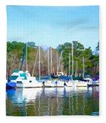 Reflecting The Masts - Watercolor Style Fleece Blanket