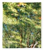 Reflecting Trees On Quiet Pond Fleece Blanket