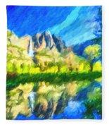 Reflection In Merced River Of Yosemite Waterfalls Fleece Blanket